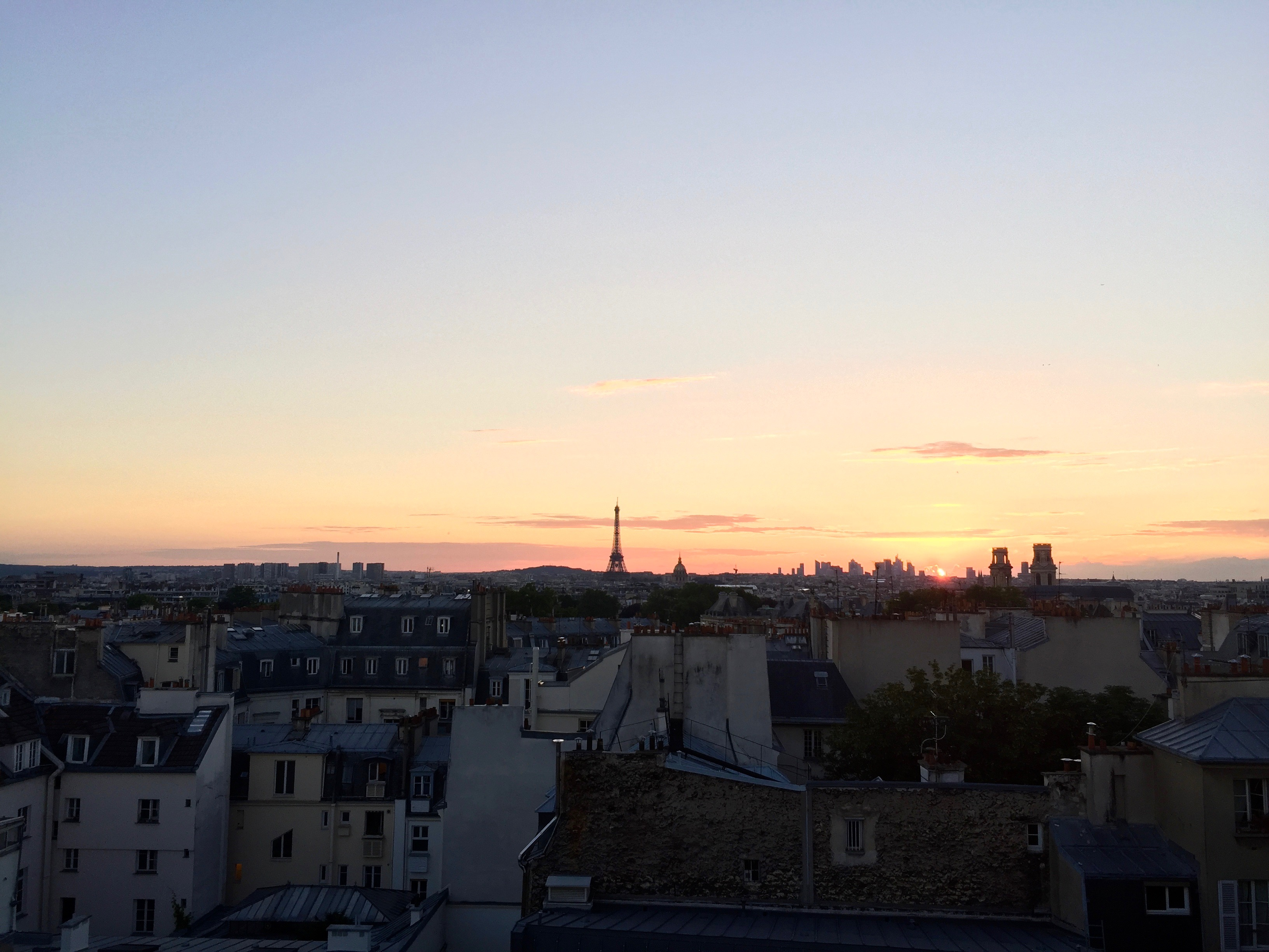 paris rooftop sunset